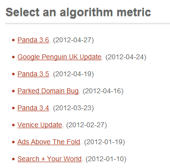 search engine algorithm dates