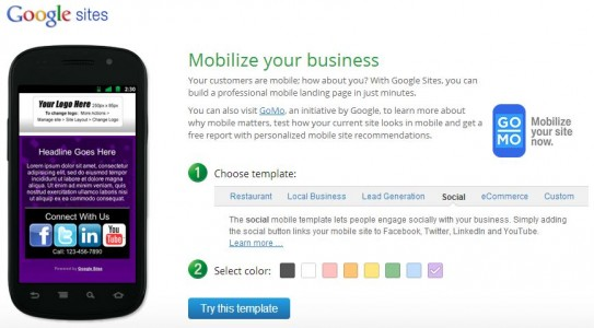 Google Mobile Site Builder