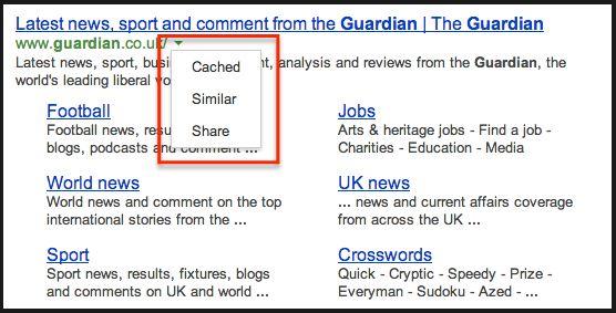 Paddy Moogan Google cache, similar, share