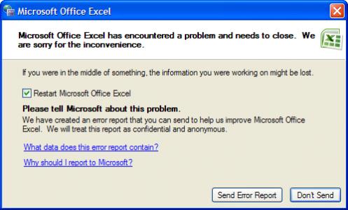 microsoft excel restart error