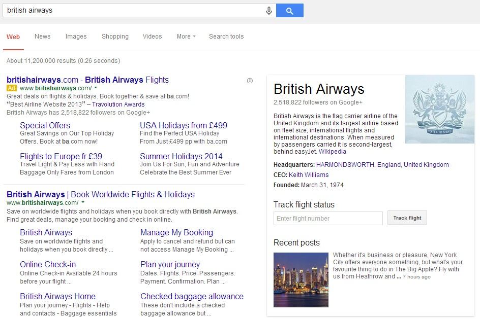 A screenshot of bidding on British Airways brand name