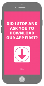 Mobile App download interstitial