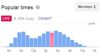Google Popular Times Live Data
