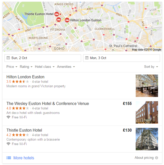 Local Pack Listing London Hotels