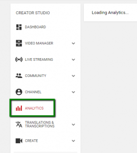YouTube Analytics menu