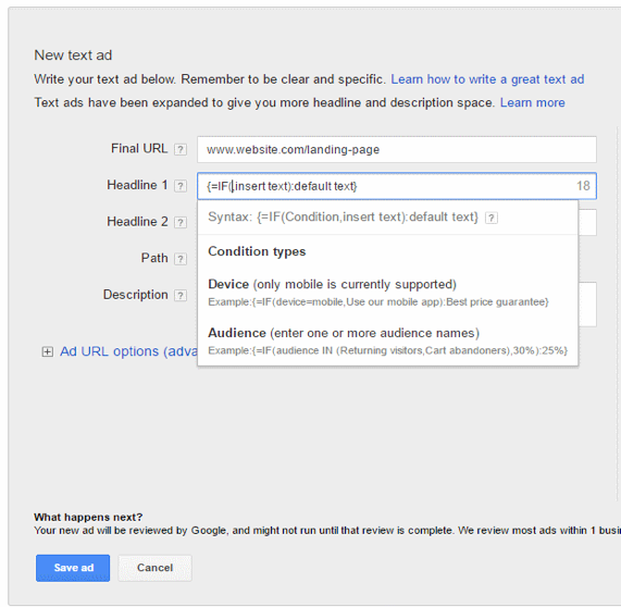 IF statements in adwords