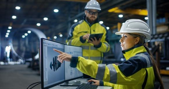 Female engineer wearing a helmet