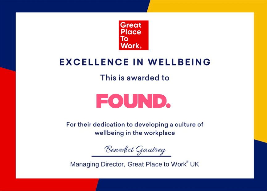 Found awarded for excellence in wellbeing. - FOUND