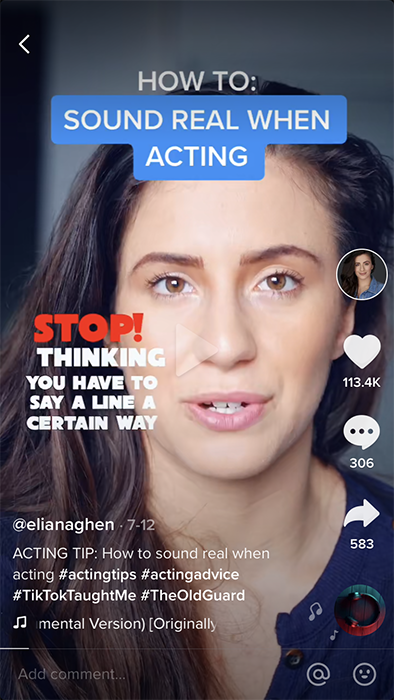 A screenshot of a tiktok video showing multiple subtitle styles, white text and white text on a blue background.